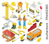 isometric builder with... | Shutterstock .eps vector #596403383