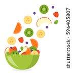sliced fresh fruits flying in a ... | Shutterstock .eps vector #596405807