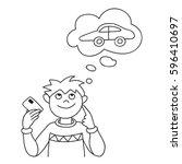 vector illustration of smiling... | Shutterstock .eps vector #596410697