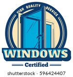 vector plastic window logo | Shutterstock .eps vector #596424407