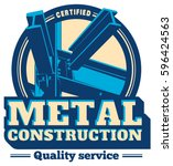 building construction metal... | Shutterstock .eps vector #596424563