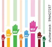hands help set in color art... | Shutterstock .eps vector #596427257