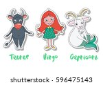 set of three zodiac signs  ... | Shutterstock .eps vector #596475143