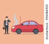 businessman with broken car.... | Shutterstock . vector #596486903