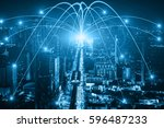 business networking connection... | Shutterstock . vector #596487233