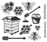 beekeeping and honey set of... | Shutterstock .eps vector #596494403