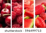 oncept of red fruits. | Shutterstock . vector #596499713