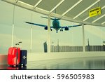 passenger plane flying over... | Shutterstock . vector #596505983