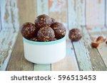 brazil nut chocolate energy... | Shutterstock . vector #596513453