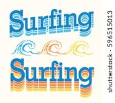 surfing typography  tee shirt...   Shutterstock .eps vector #596515013