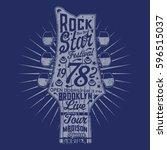 music rock guitar typography ... | Shutterstock .eps vector #596515037