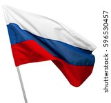 Russia flag waving on white...