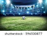 football pitch with green grass ... | Shutterstock . vector #596530877