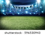 football pitch with green grass ... | Shutterstock . vector #596530943