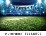 football pitch with green grass ... | Shutterstock . vector #596530973