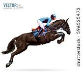 jockey on horse. champion.... | Shutterstock .eps vector #596535473