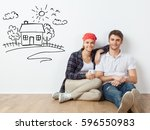 young couple sitting on the... | Shutterstock . vector #596550983