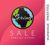 spring sale banner with...   Shutterstock .eps vector #596557553