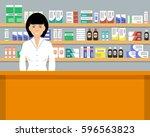 web banner of a pharmacist.... | Shutterstock .eps vector #596563823