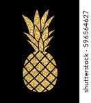 gold glitter pineapple. summer... | Shutterstock .eps vector #596564627