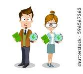 education concept with teacher... | Shutterstock .eps vector #596567363
