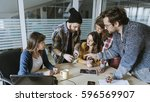 hipster freelancers in the... | Shutterstock . vector #596569907