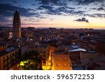 general view on city and... | Shutterstock . vector #596572253
