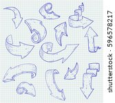 arrows. hand drawn sketch.... | Shutterstock .eps vector #596578217