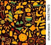 summer set doodle pattern.... | Shutterstock .eps vector #596579873