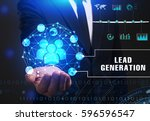 Small photo of Business, Technology, Internet and network concept. Young businessman working on a virtual screen of the future and sees the inscription: Lead generation