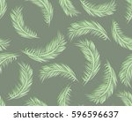 tropical palm leaves  jungle... | Shutterstock .eps vector #596596637