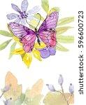 flower watercolor illustration... | Shutterstock . vector #596600723