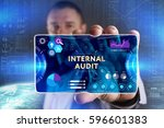 Small photo of Business, Technology, Internet and network concept. Young businessman showing a word in a virtual tablet of the future: Internal audit