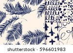set of blue patterns drawn with ... | Shutterstock .eps vector #596601983