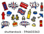 fashion patch badges with... | Shutterstock .eps vector #596603363