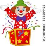 cartoon clown jumping out of... | Shutterstock .eps vector #596604413