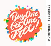 buy one get one free  lettering. | Shutterstock .eps vector #596605613