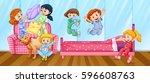girls having slumber party in... | Shutterstock .eps vector #596608763