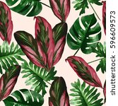 tropical leaves and flowers of... | Shutterstock .eps vector #596609573