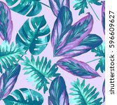 Tropical Leaves And Flowers Of...