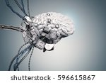 3d rendering robot brain with... | Shutterstock . vector #596615867