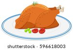 roast chicken on round plate... | Shutterstock .eps vector #596618003
