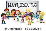 kids with numbers and... | Shutterstock .eps vector #596618267