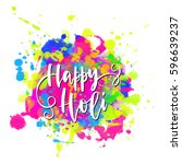 watercolor happy holi and... | Shutterstock .eps vector #596639237
