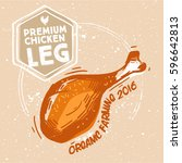 sketched chicken grill leg with ... | Shutterstock .eps vector #596642813