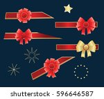 set of bows on a dark blue... | Shutterstock .eps vector #596646587