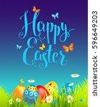 positive happy easter background | Shutterstock .eps vector #596649203