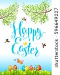 easter holiday card | Shutterstock .eps vector #596649227