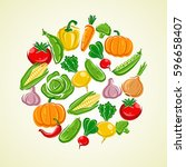 vegetables background. vector | Shutterstock .eps vector #596658407