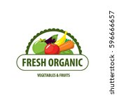 organic food emblem and badge | Shutterstock .eps vector #596666657